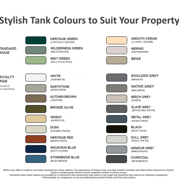 Poly Tank Colour Range